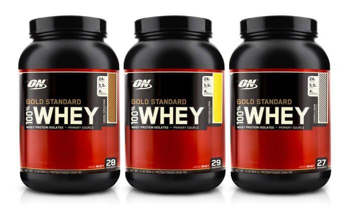 bottle of whey protein powder